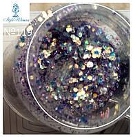 Блестки, пайетки для дизайна ногтей Mileo Professional Nail Art присыпка Милео №119