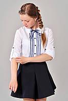 Красивая школьная блуза с рубашечным воротничком