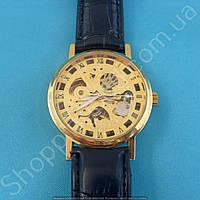Часы Rolex 114143 мужские механические золотистые на черном ремне скелетон автоподзавод