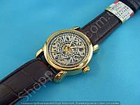 Часы Vacheron Constantin 114147 мужские механические золотистые на коричневом ремне скелетон автоподзавод