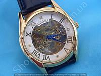 Часы Слава GK09001 мужские механические золотистые на черном ремне скелетон автоподзавод римские цифры