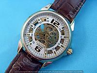 Часы Слава GK1018 мужские механические серебристые на коричневом ремне скелетон автоподзавод