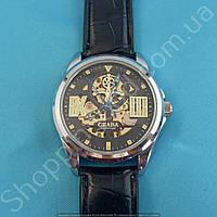 Часы Слава Созвездие GK8002 мужские механические серебристые на черном ремне скелетон автоподзавод
