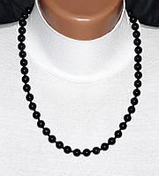 Шерл, чёрный турмалин, бусы, шарик 8 мм.