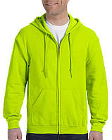 Кофта Gildan® Heavy Blend™ Adult Full Zip Hooded Sweatshirt Safety Green