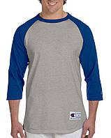 Лонгслив Champion Raglan Baseball 3/4 SleeveTee Oxford Grey Team Blue
