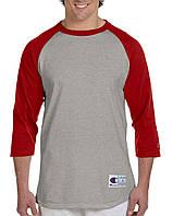 Лонгслив Champion Raglan Baseball 3/4 SleeveTee Oxford Grey Scarlet