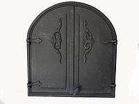 Двухстворчатая чугунная печная дверца (арка) без стекла Dunántúl 57х62см-53х57см