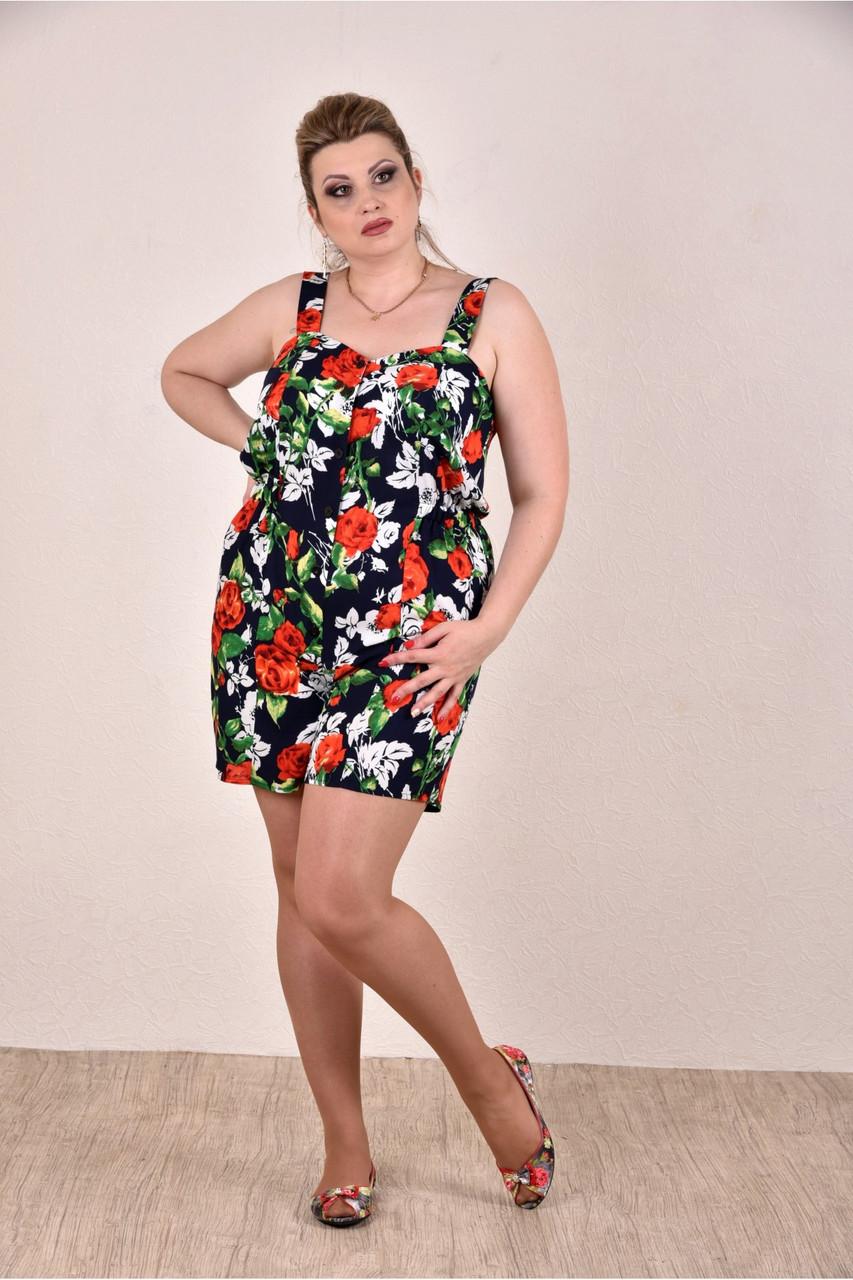 ❤/ Размер 42-74 / Легкий женский комбинезон с шортами, цвет черный+цветы / Лето 0290-3 / Большие размеры