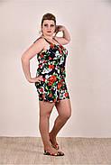 ❤/ Размер 42-74 / Легкий женский комбинезон с шортами, цвет черный+цветы / Лето 0290-3 / Большие размеры, фото 2