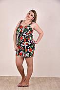 ❤/ Размер 42-74 / Легкий женский комбинезон с шортами, цвет черный+цветы / Лето 0290-3 / Большие размеры, фото 3