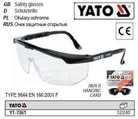 Очки окуляри захисні відкриті прозорі оправа YATO-7361