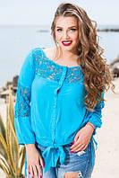 Летняя коттоновая блузка с вставками из шитья