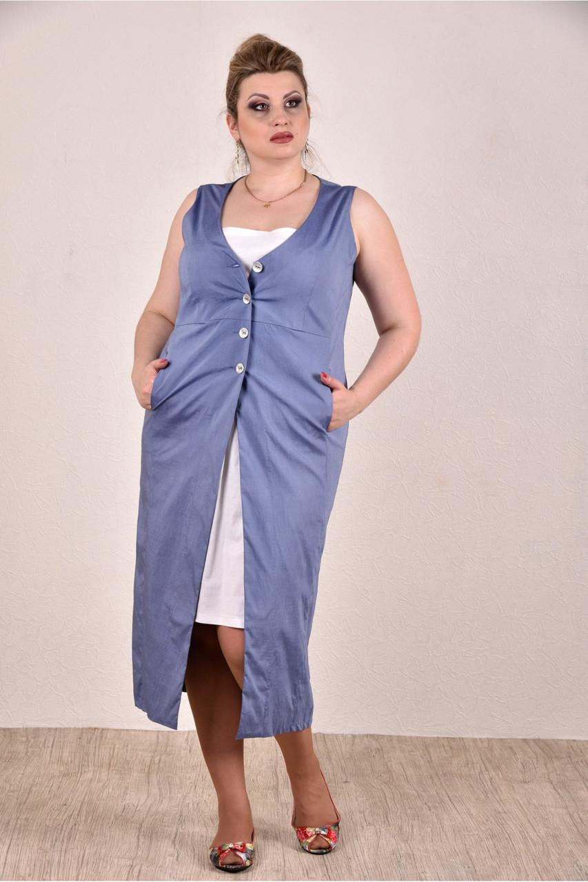 Женское летнее платье из бенгалина большие размеры 0288-1 цвет синий до 74 размера / больших размеров