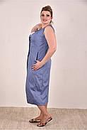 Женское летнее платье из бенгалина большие размеры 0288-1 цвет синий до 74 размера / больших размеров, фото 2