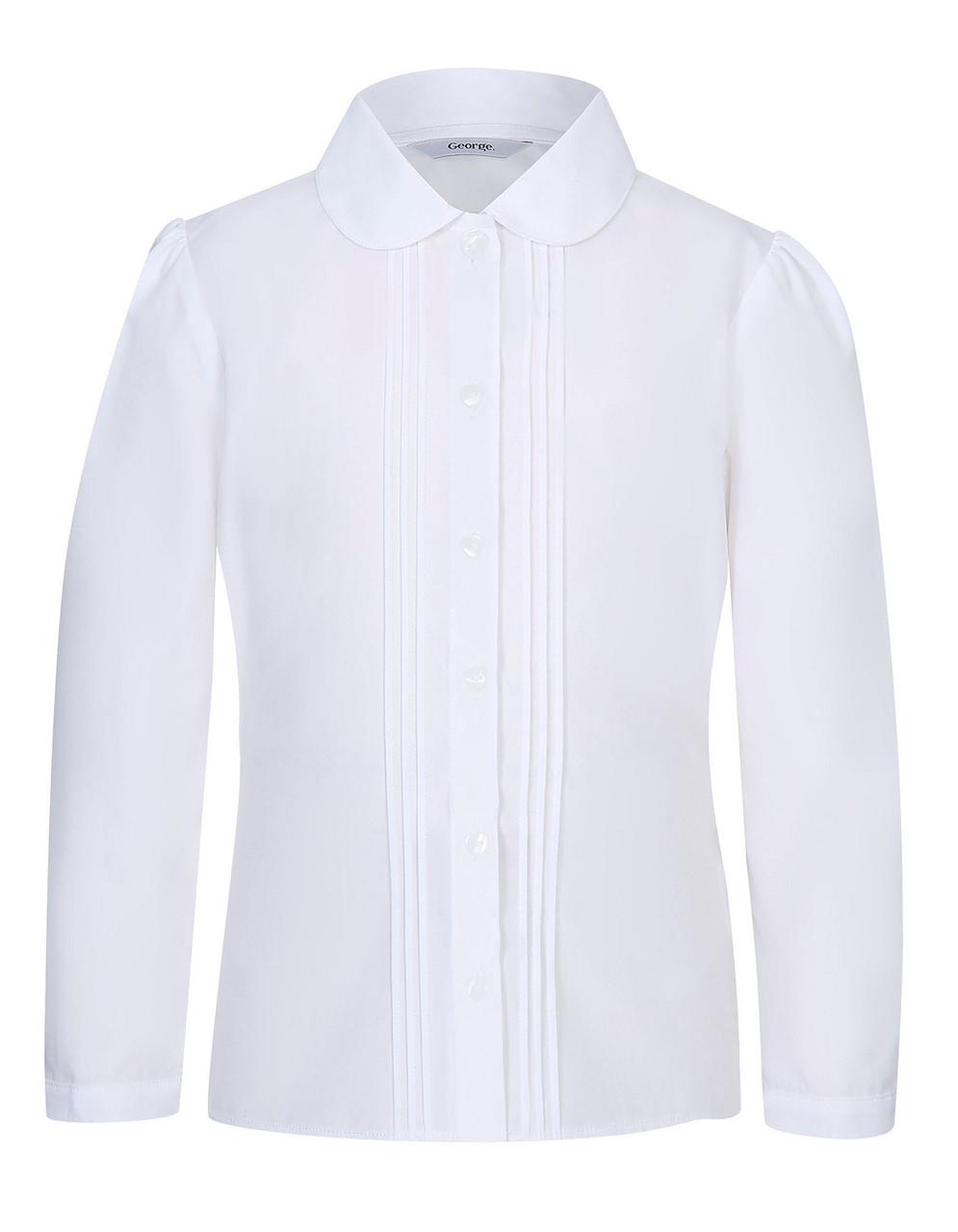 Школьная блузка белая с длинным рукавом на девочку 5-6-7-8-9-10-11 лет George (Англия)