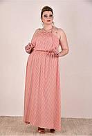 Женский летний сарафан цвет персик 0287-2 до 74 размера / больших размеров для полных женщин
