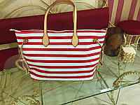 Брендовая женская сумка больших размеров полосатая итальянская в цветах