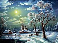 Алмазная вышивка Зимняя ночь в деревне KLN 30*40 см (арт. FS206)