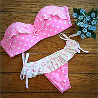 Женский красивый розовый купальник в горошек