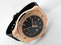 Женские часы HUBLOT - Big Bang каучуковый черный ремешок, цвет золото, фото 1