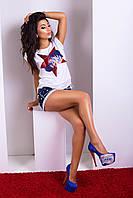 Модная женская футболка Luzana -22223 | белый (р.42-50)