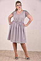 Женское платье на лето 0286-3 цвет серый до 74 размера / больших размеров для полных женщин