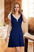 Женская ночная рубашка синего цвета с нежным кружевом белого цвета, короткий рукав. Модель Leonia Eldar.