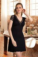 Женская ночная рубашка черного цвета с коротким рукавом, модель Leonia Eldar.