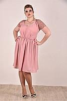 Женское платье на лето 0286-2 цвет персик до 74 размера / больших размеров для полных женщин