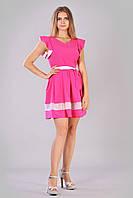 Стильное розовое летнее женское платье с рукавами воланами