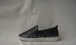 Слипоны женские стильные черного цвета перфорация, фото 2