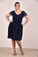 Женское платье на лето 0286-1 цвет темно синий до 74 размера / больших размеров для полных женщин