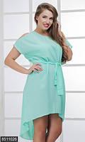 Женское однотонное платье с удлинением сзади с разрезами на плечах и аппликацией из страз креп шифон батал