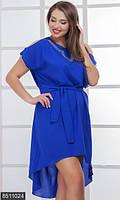 Трендовое женское платье с удлинением сзади с разрезами на плечах и аппликацией из страз креп шифон батал