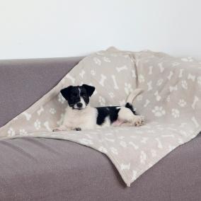 Коврик для собаки 75*100см Trixie Kenny, бежевый лапка/косточка