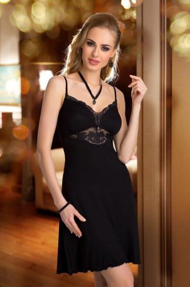 Женский пеньюар черного цвета с кружевом на регулируемых бретелях. Модель Rossi Eldar.
