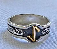 Кольцо с золотой Руной Эйваз, Ейвис (Eihwaz) с чернением