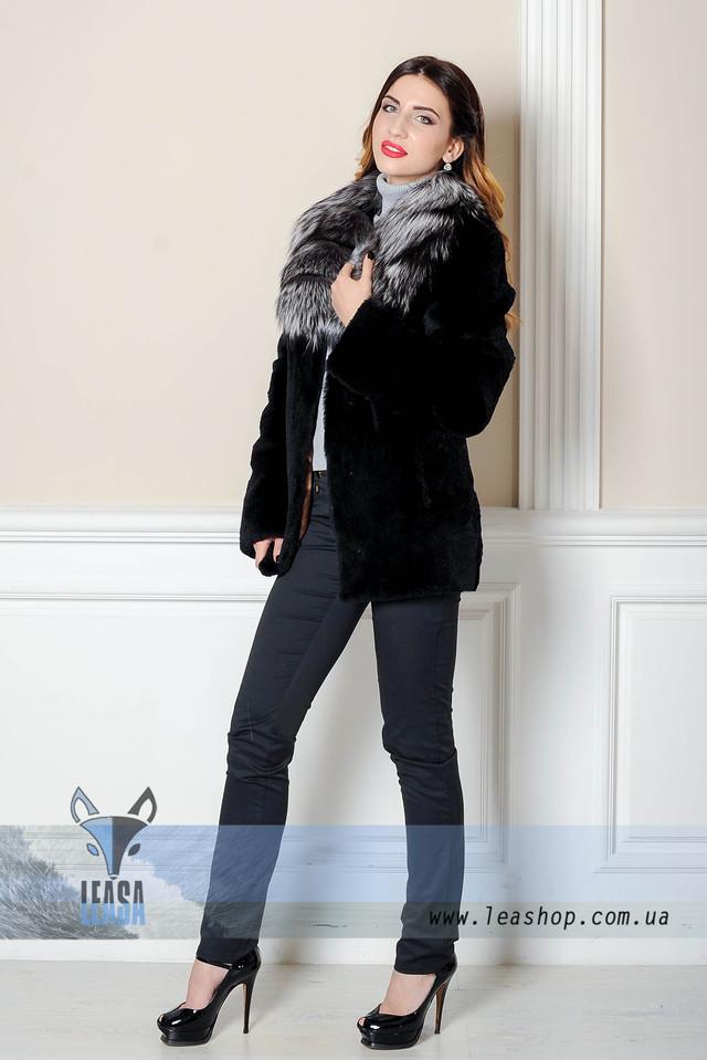 Шуба из кролика с воротником из чернобурки  www.leashop.com.ua