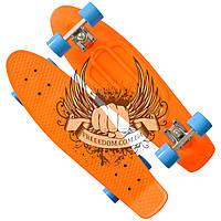 Пенни борд - Никель 27' Оранжевый с голубыми колёсами
