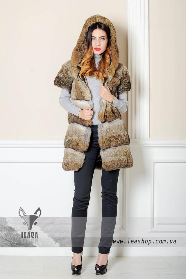 Меховая жилетка из кролика с капюшоном  www.leashop.com.ua