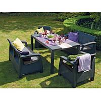 Комплект мебели садовой антрацит на 6 мест (2 кресла + два дивана  по 2 места)