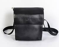 Мужская наплечная сумка-планшетка из кожи от Cantlor (черная) - код 87-917