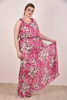 Женское шифоновое платье цвет розовый 0284-2 до 74 размера / больших размеров для полных женщин