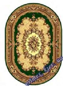 """Синтетический овальный ковер эконом-сегмента Gold Karat """"Роуз"""", цвет зеленый"""