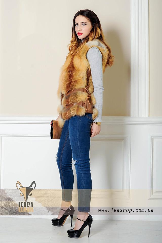 Меховая жилетка из лисы с корсетом в интернет магазине leashop.com.ua