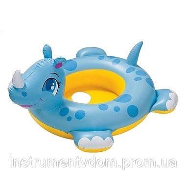 """Детский надувной плотик с отверстиями для ножек INTEX 58511 """"Носорог"""" (104х80 см)"""