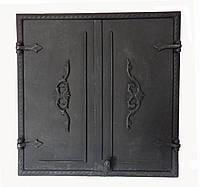 Двухстворчатая чугунная печная дверца Dunántúl 61х66,5см-55х60см