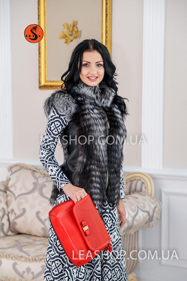 Короткая жилетка из чернобурки leashop.com.ua