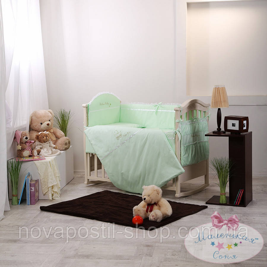 Набор в детскую кроватку Golden зеленый (6 предметов)